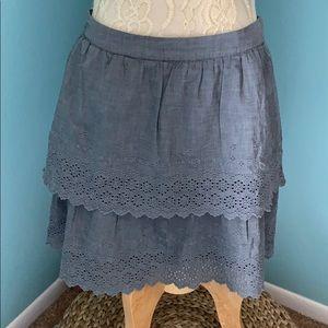 J Crew Women's Size 6 Gray Eyelet Tiered Skirt